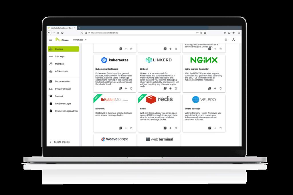 MetaKube Managed Kubernetes Dashboard Add Ons